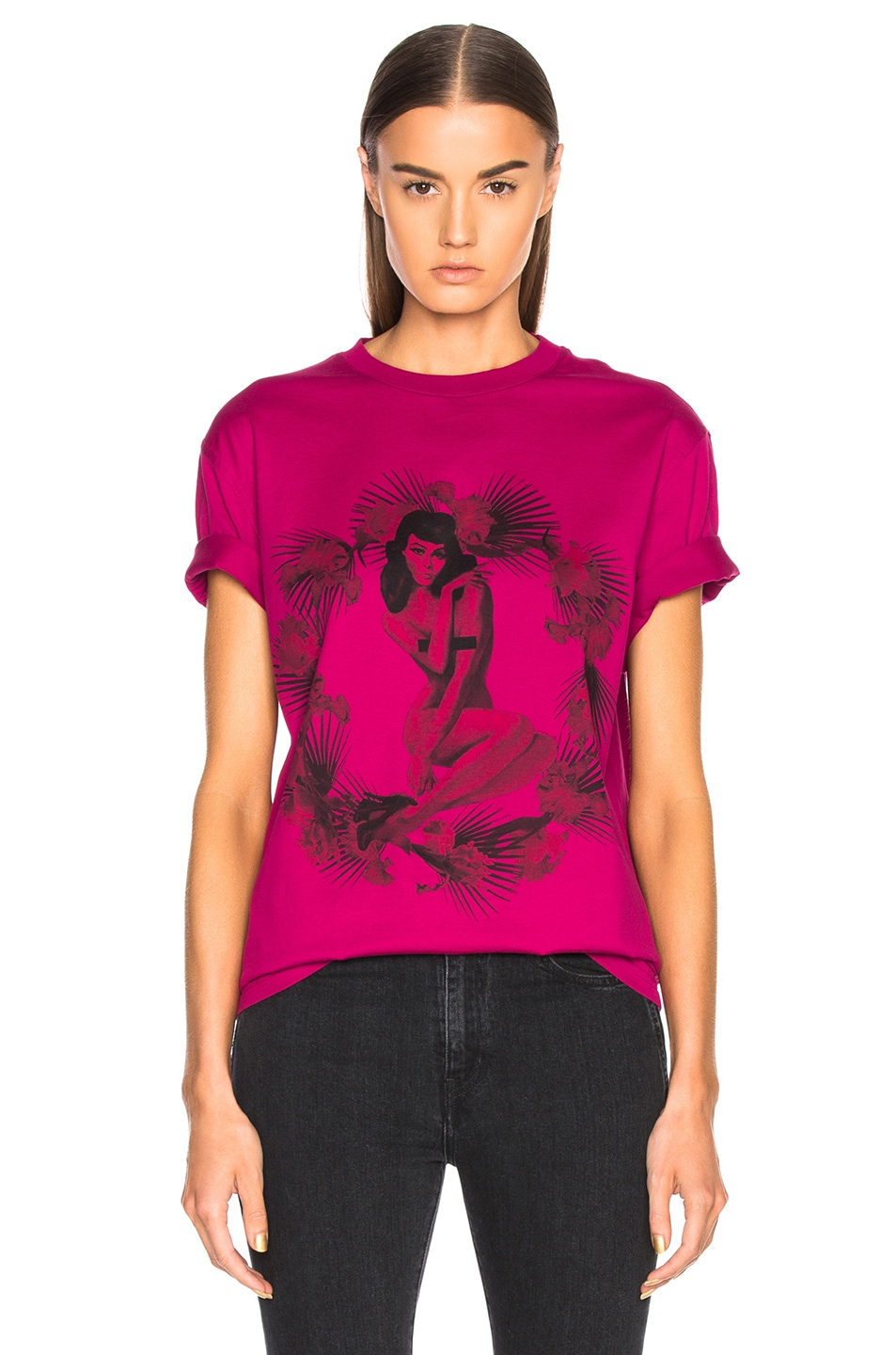 Givenchy Pin Up Printed Graphic Tee in Pink