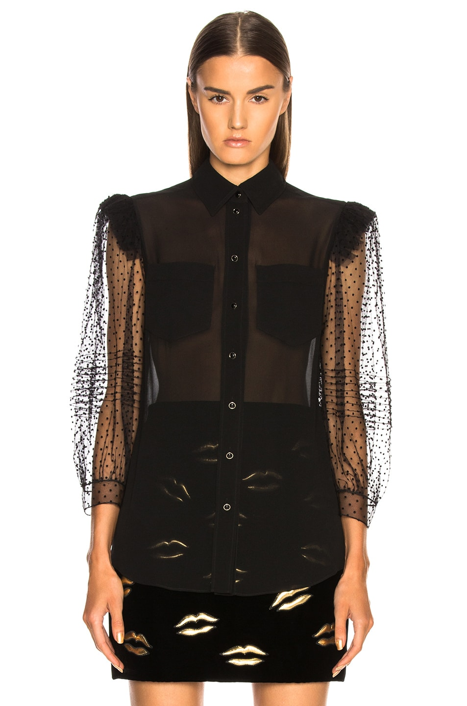 Image 2 of Givenchy Silk Georgette Lace Sleeve Blouse in Black