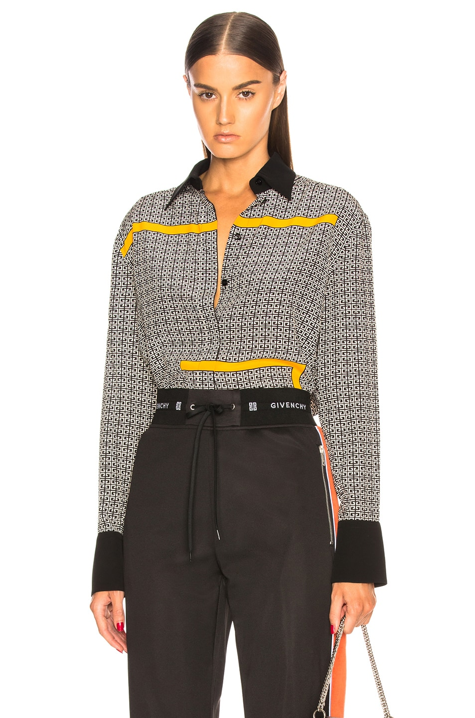 Image 1 of Givenchy Crepe de Chine Scarf Blouse in Black & Yellow