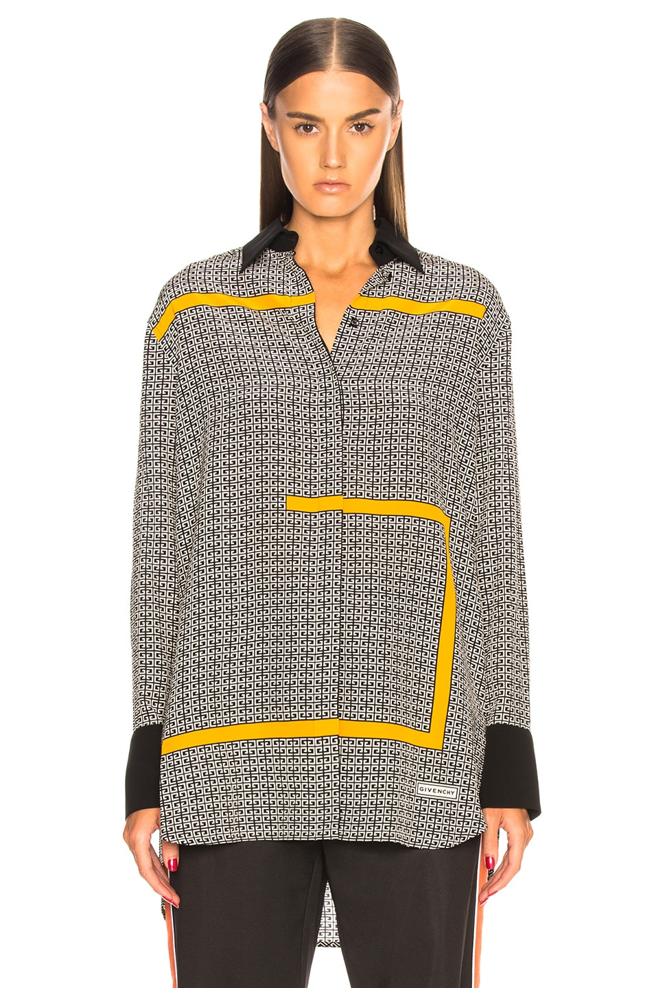 Image 2 of Givenchy Crepe de Chine Scarf Blouse in Black & Yellow