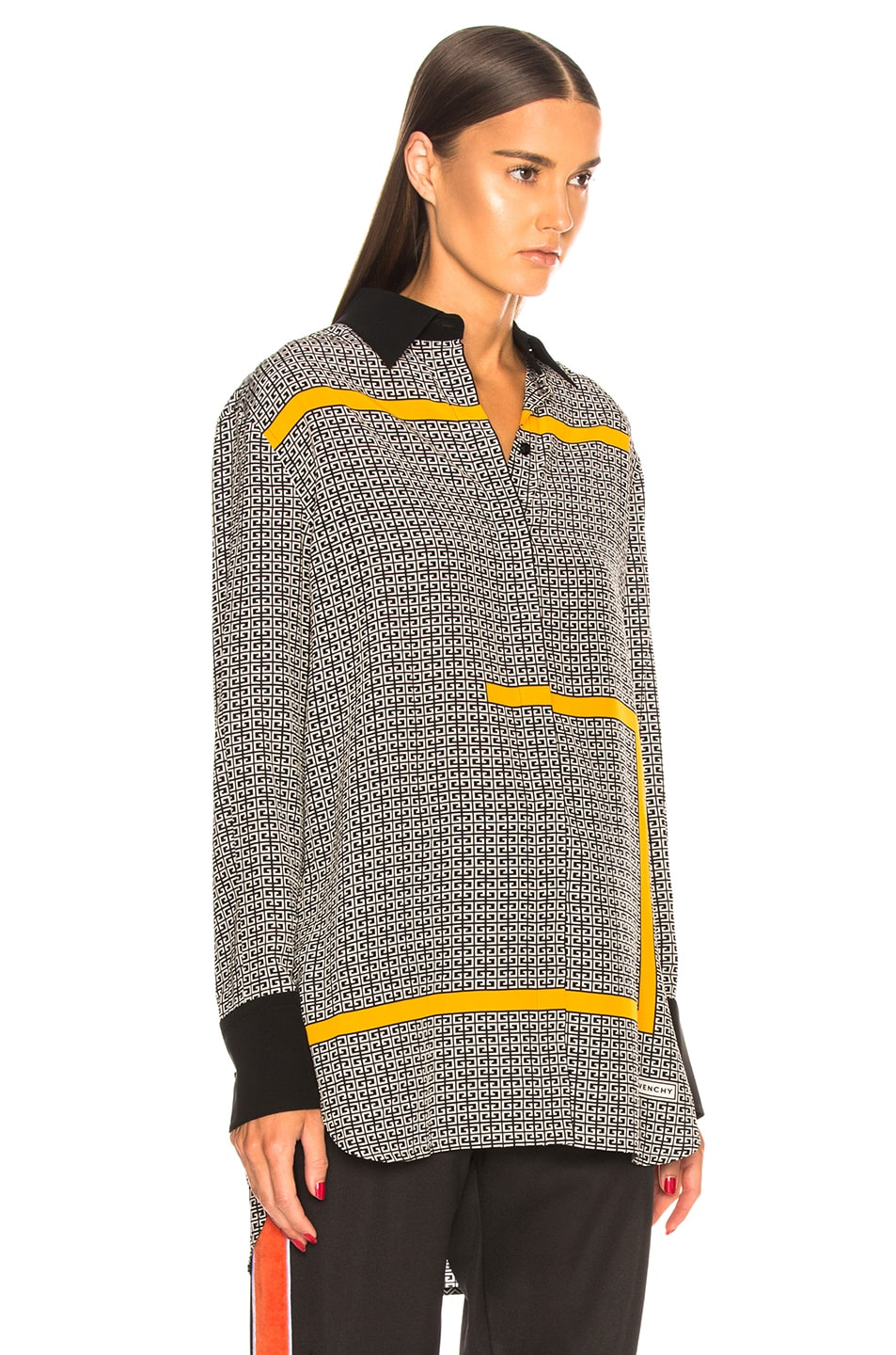 Image 3 of Givenchy Crepe de Chine Scarf Blouse in Black & Yellow