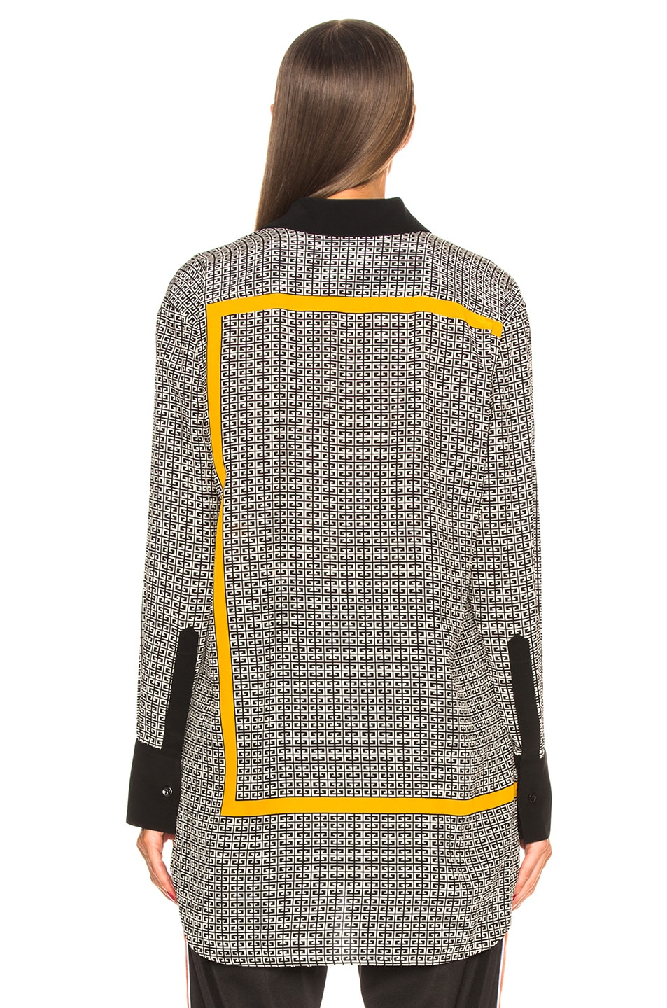 Image 5 of Givenchy Crepe de Chine Scarf Blouse in Black & Yellow