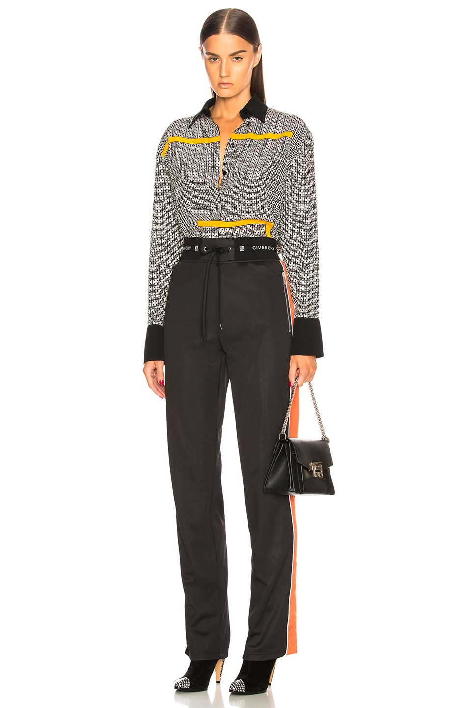 Image 6 of Givenchy Crepe de Chine Scarf Blouse in Black & Yellow