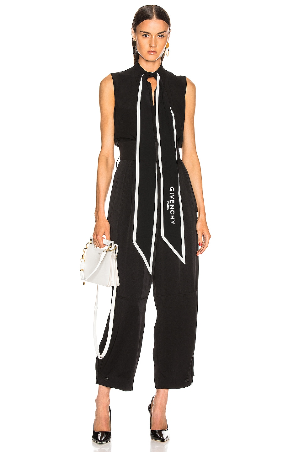 Image 1 of Givenchy Cropped Sleeveless Scarf Top in Black