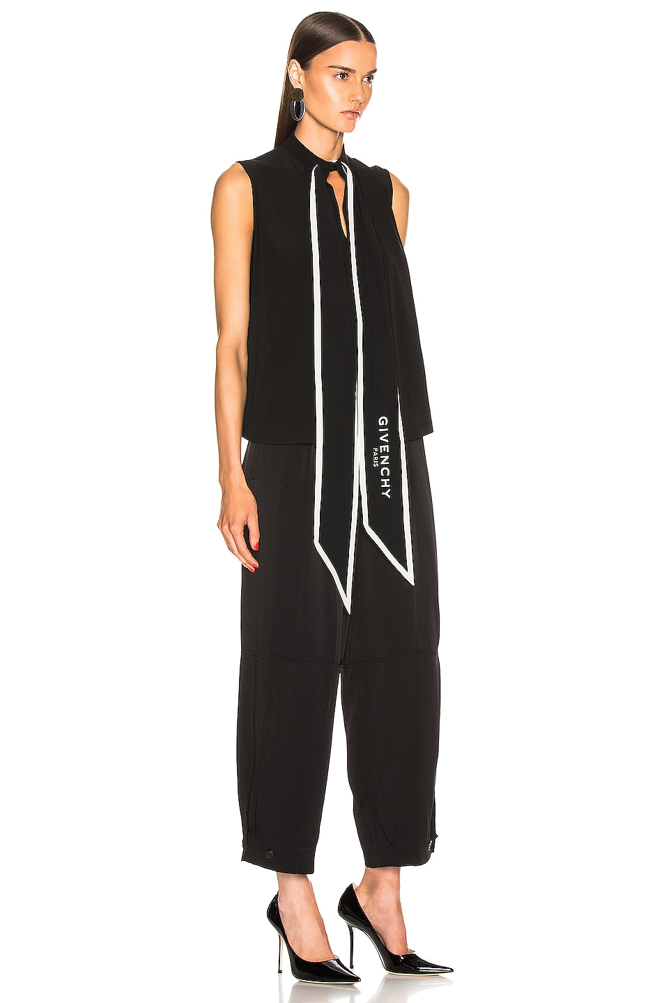 Image 2 of Givenchy Cropped Sleeveless Scarf Top in Black