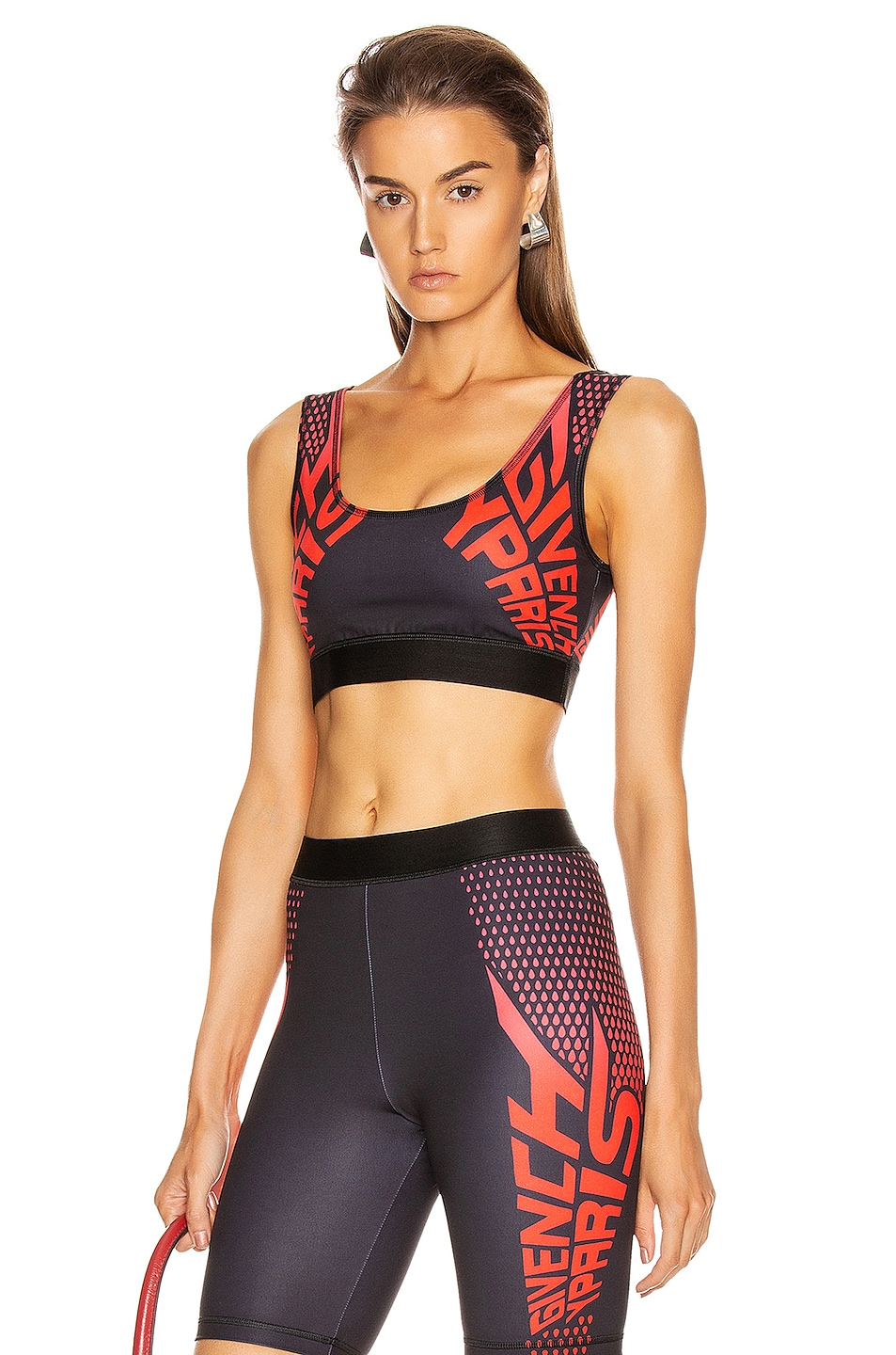 Image 1 of Givenchy Sport Logo Sports Bra Top in Black & Red
