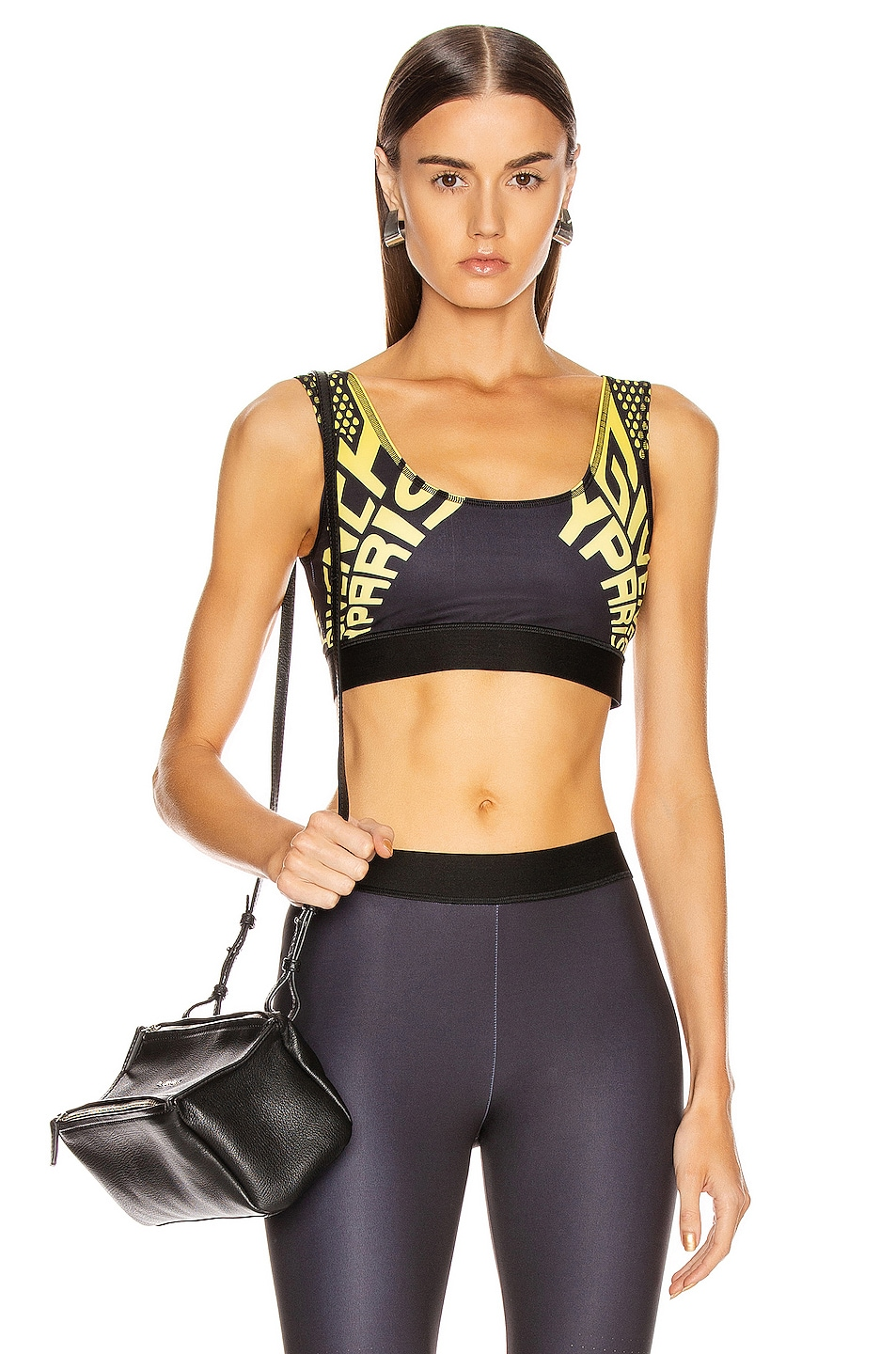 Image 1 of Givenchy Sporty Logo Sports Bra Top in Black & Yellow