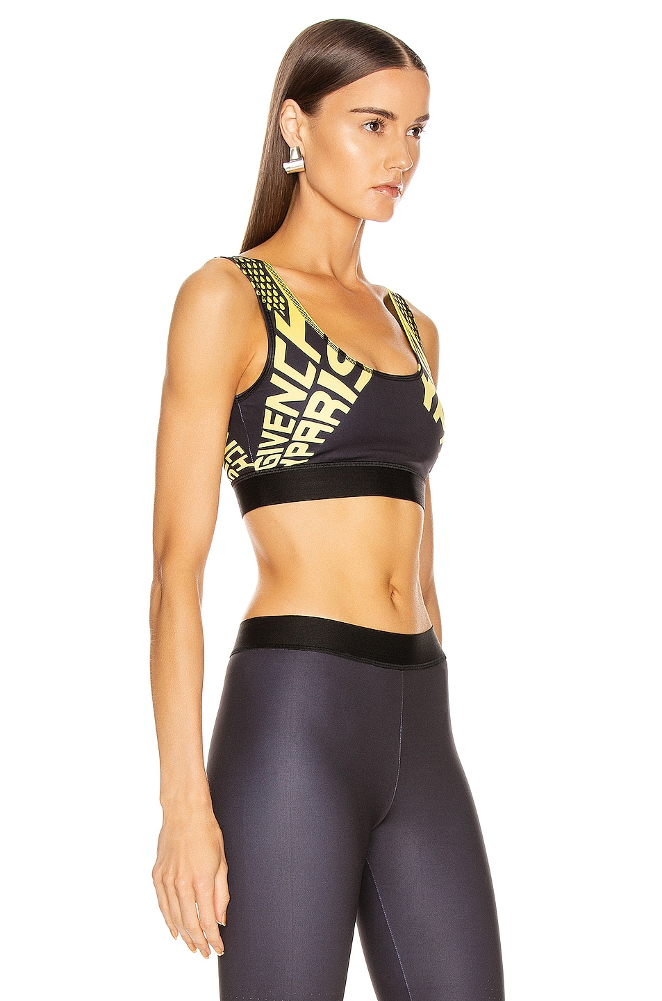 Image 2 of Givenchy Sporty Logo Sports Bra Top in Black & Yellow