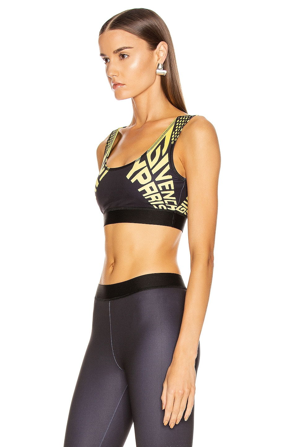 Image 3 of Givenchy Sporty Logo Sports Bra Top in Black & Yellow