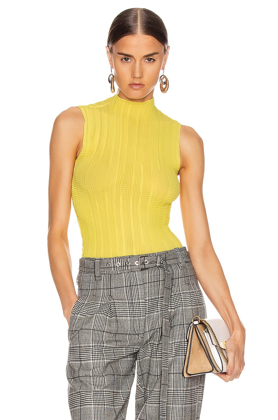 Image 1 of Givenchy Pleated Sleeveless Top in Bright Yellow