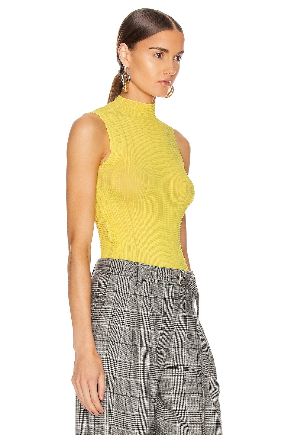 Image 2 of Givenchy Pleated Sleeveless Top in Bright Yellow