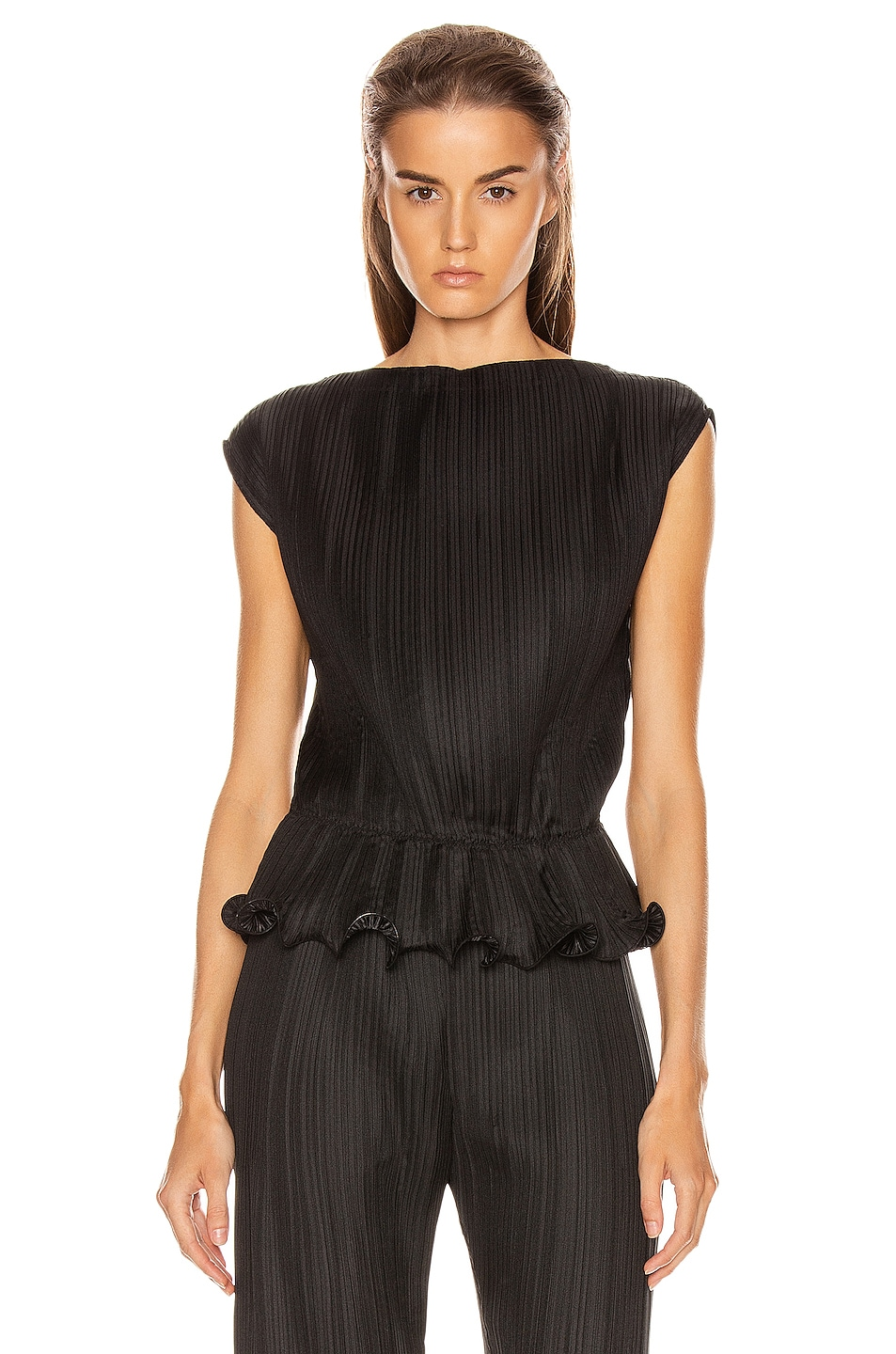 Image 1 of Givenchy Short Sleeve Pleated Top in Black