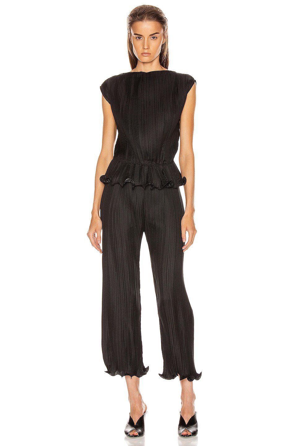 Image 4 of Givenchy Short Sleeve Pleated Top in Black