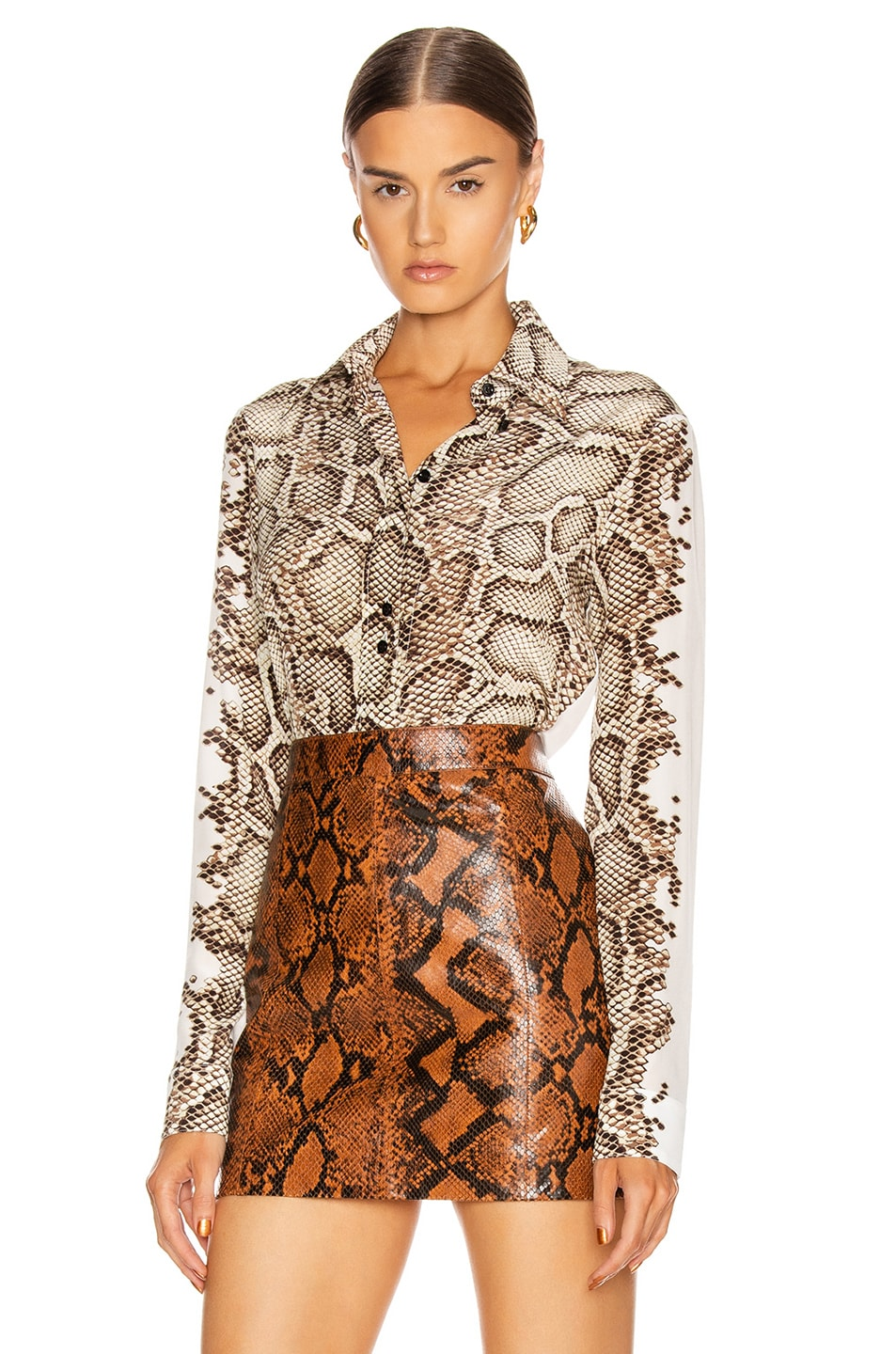 Image 1 of Givenchy Embroidered Long Sleeve Fitted Shirt in Natural & Brown