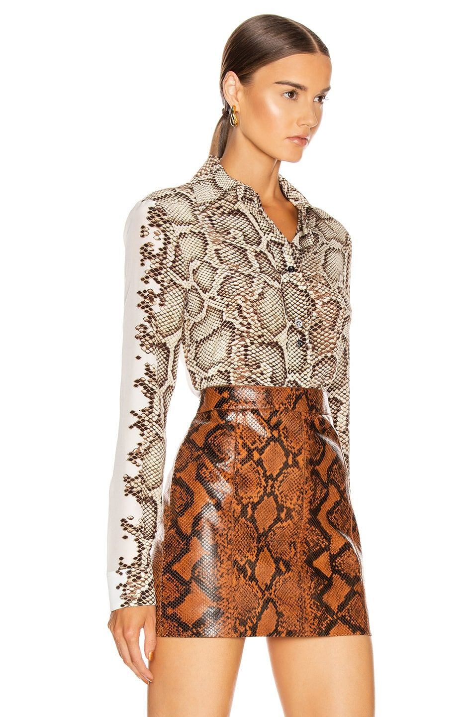 Image 2 of Givenchy Embroidered Long Sleeve Fitted Shirt in Natural & Brown