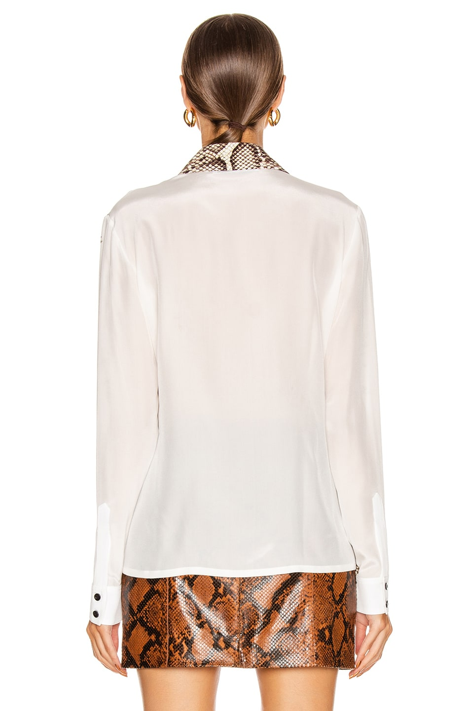 Image 3 of Givenchy Embroidered Long Sleeve Fitted Shirt in Natural & Brown