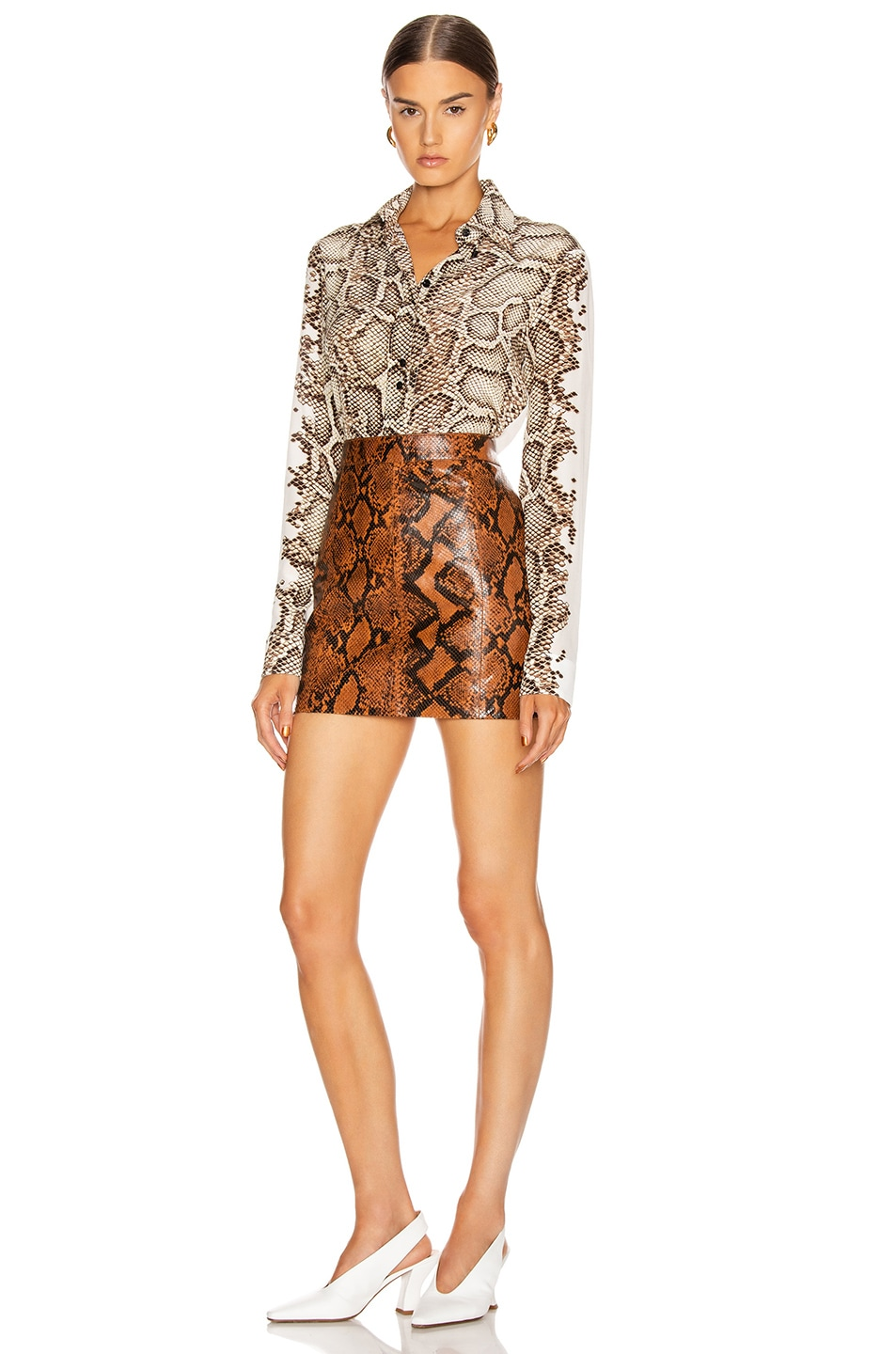 Image 4 of Givenchy Embroidered Long Sleeve Fitted Shirt in Natural & Brown