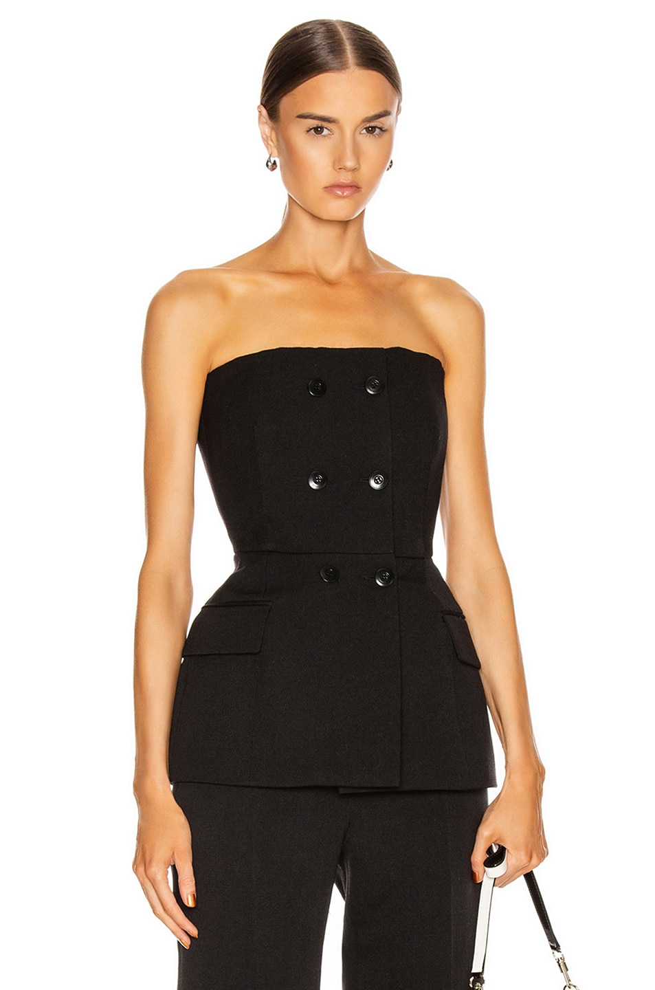 Image 1 of Givenchy Double Breasted Bustier Top in Black