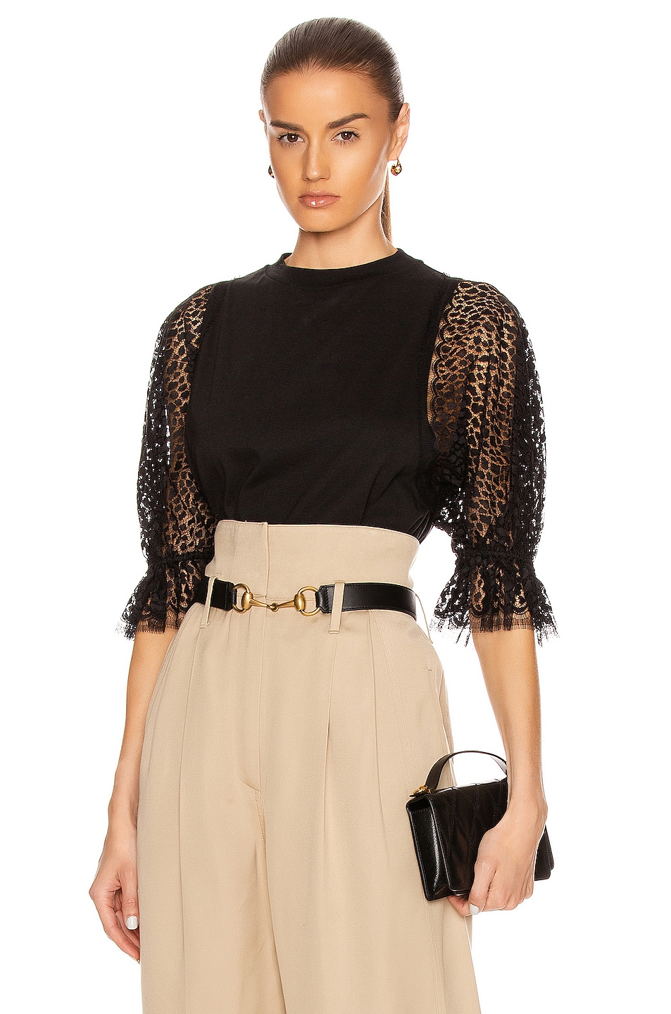 Image 1 of Givenchy Lace Sleeves Top in Black