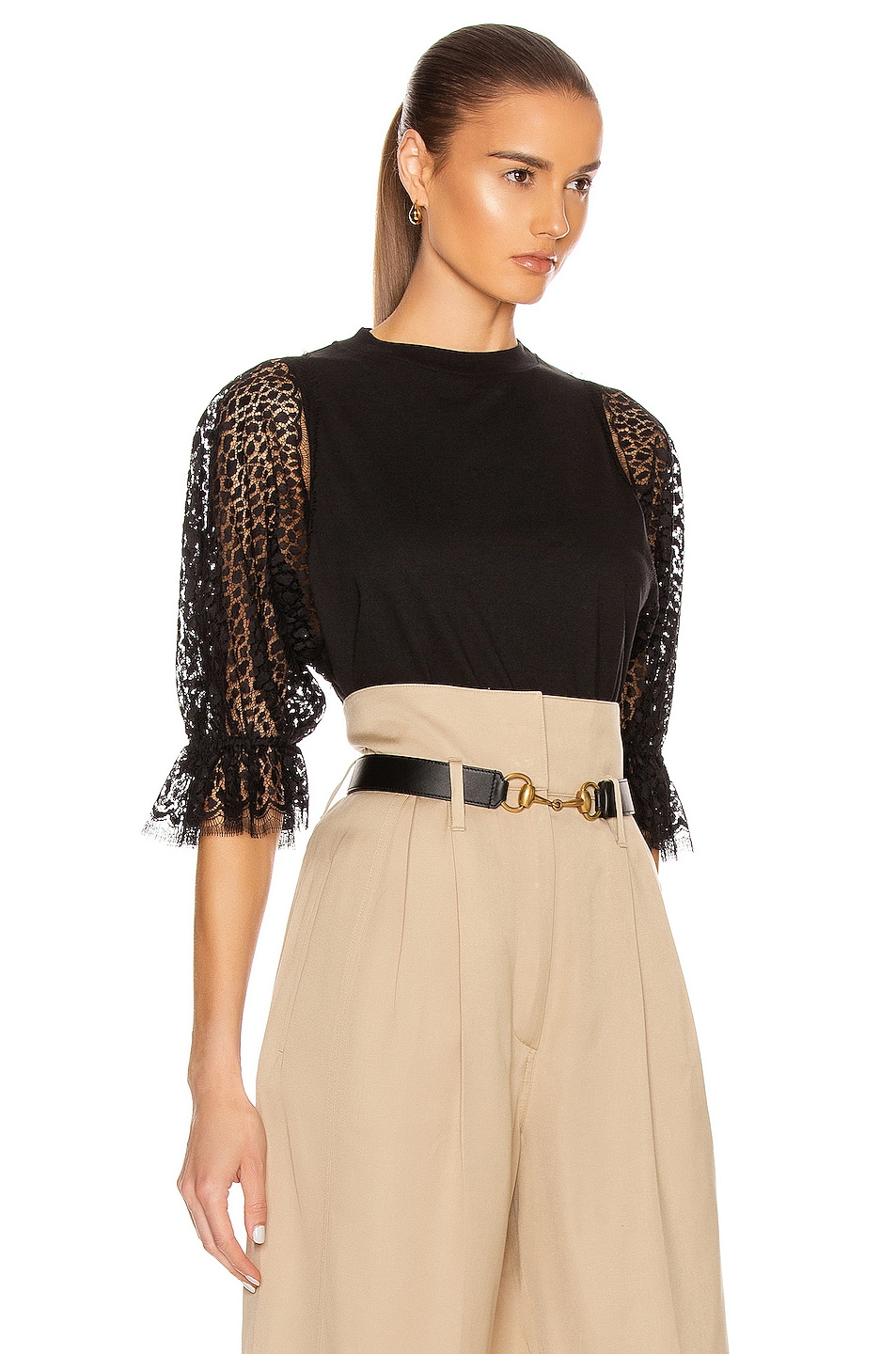 Image 2 of Givenchy Lace Sleeves Top in Black