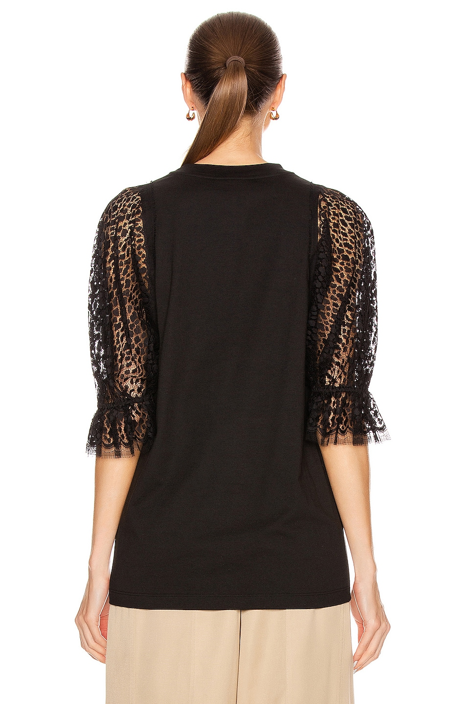 Image 3 of Givenchy Lace Sleeves Top in Black