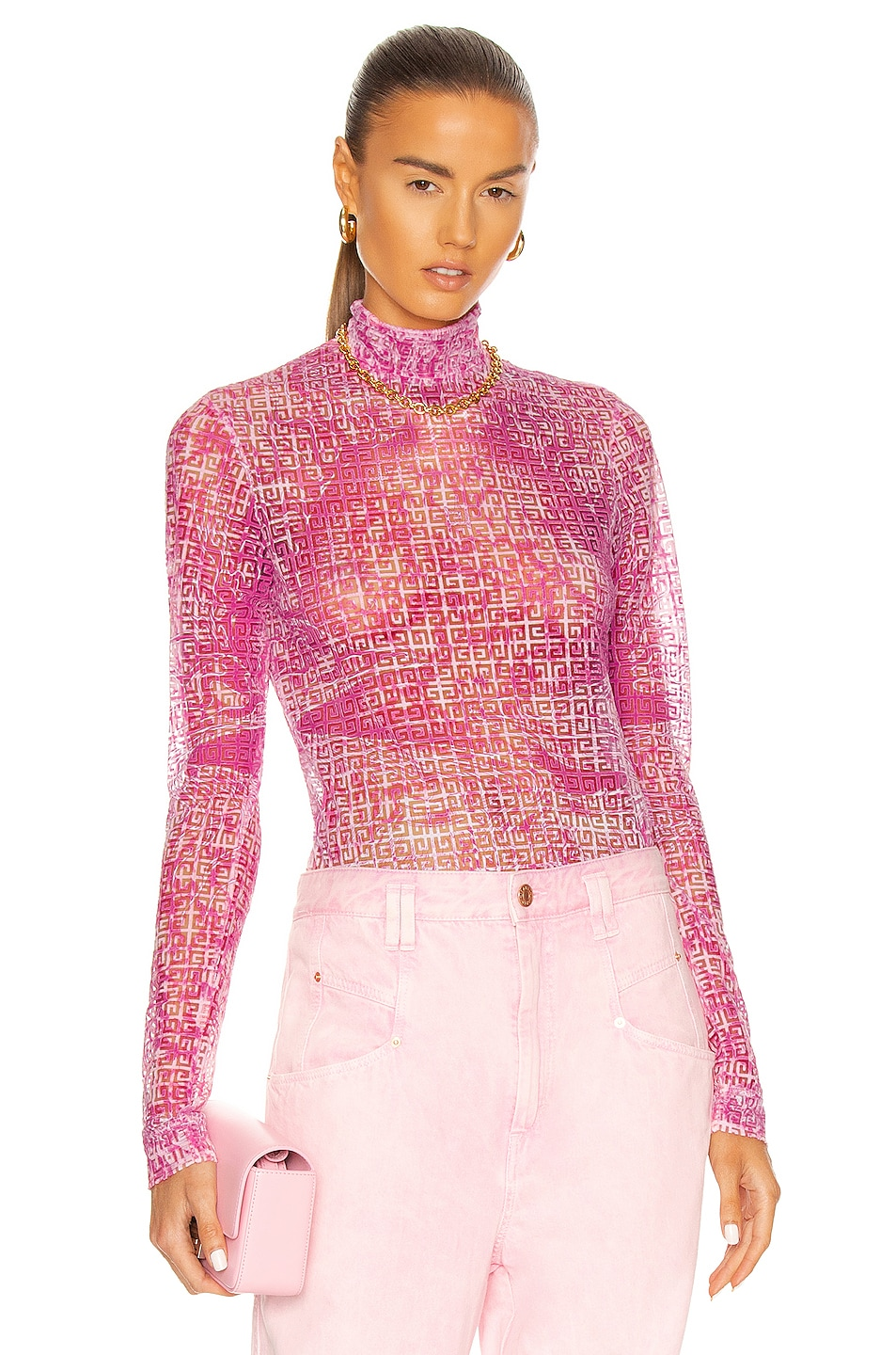Image 1 of Givenchy Second Skin Long Sleeve Top in Light Pink