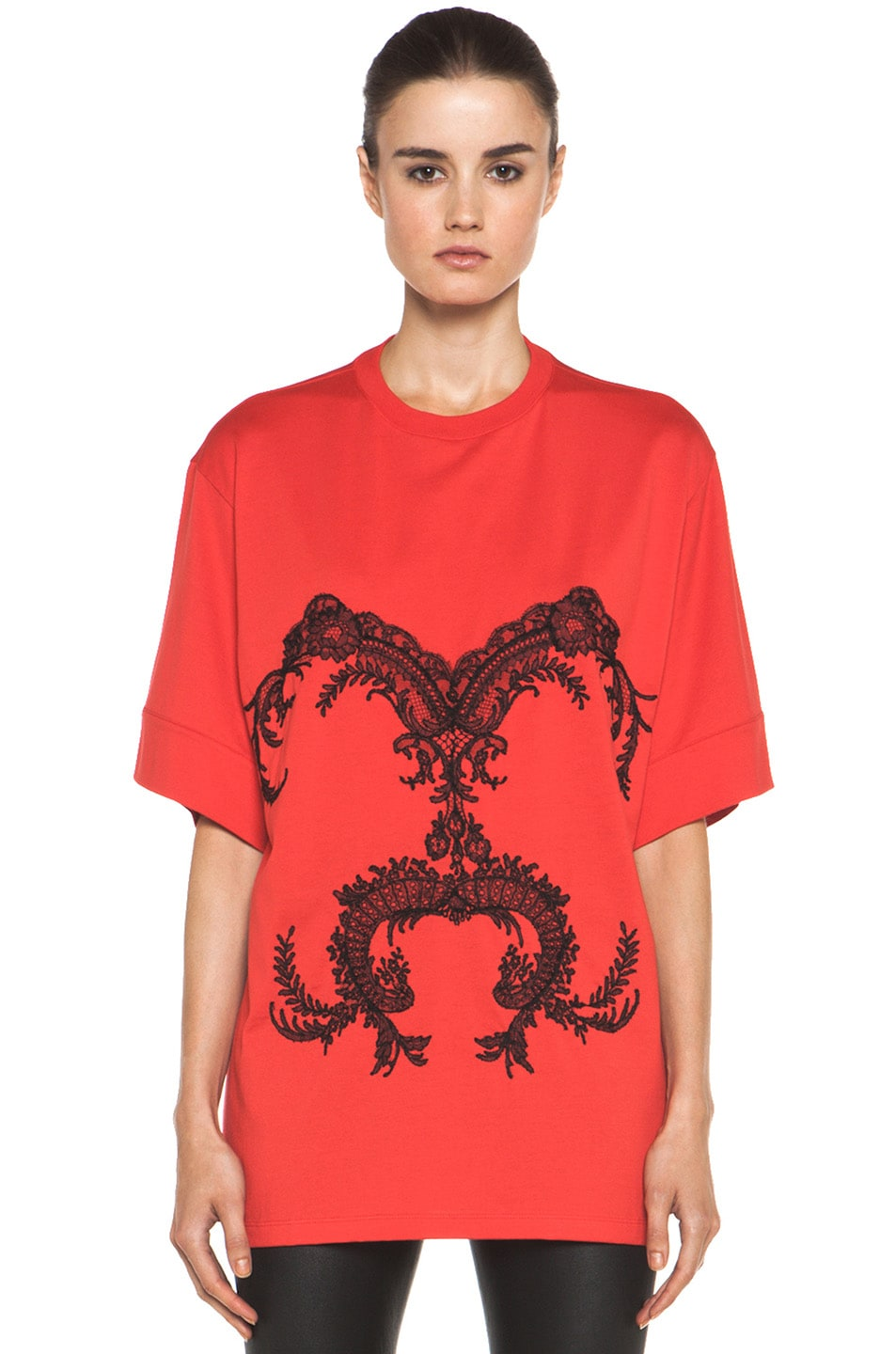Image 1 of GIVENCHY Lace Jersey Tee in Red