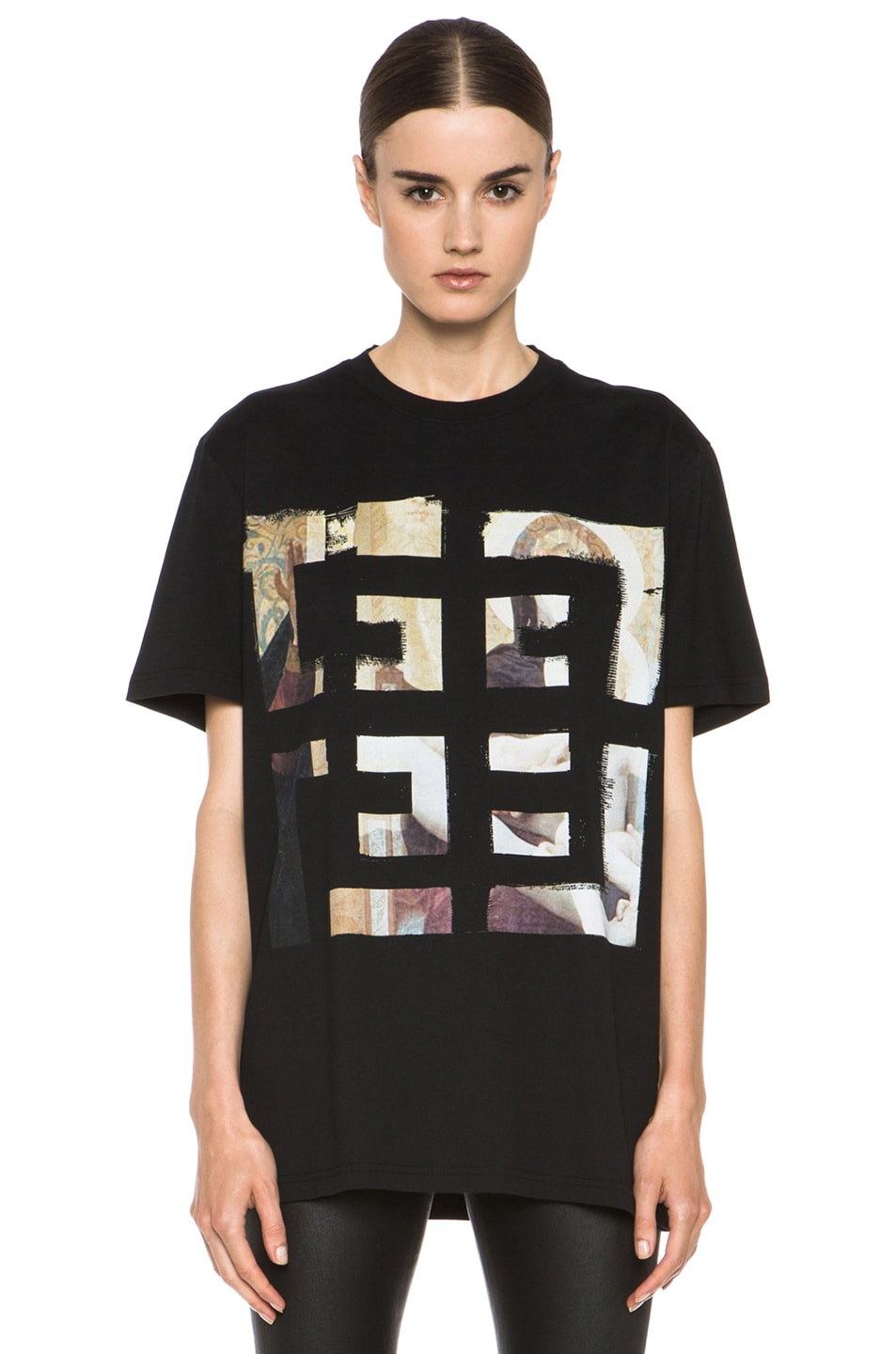 Image 1 of GIVENCHY 4G Painting Logo Cotton Tee in Black