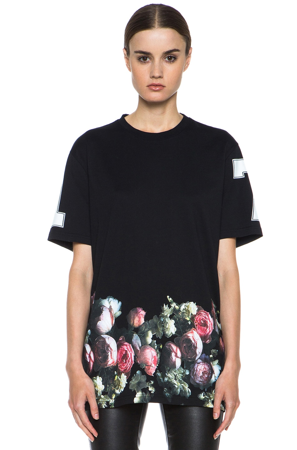 Image 1 of GIVENCHY Flower Border Cotton Tee in Black