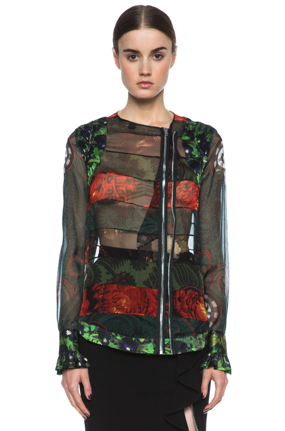 Image 1 of GIVENCHY Floral Chiffon Paneled Blouse in Green Multi