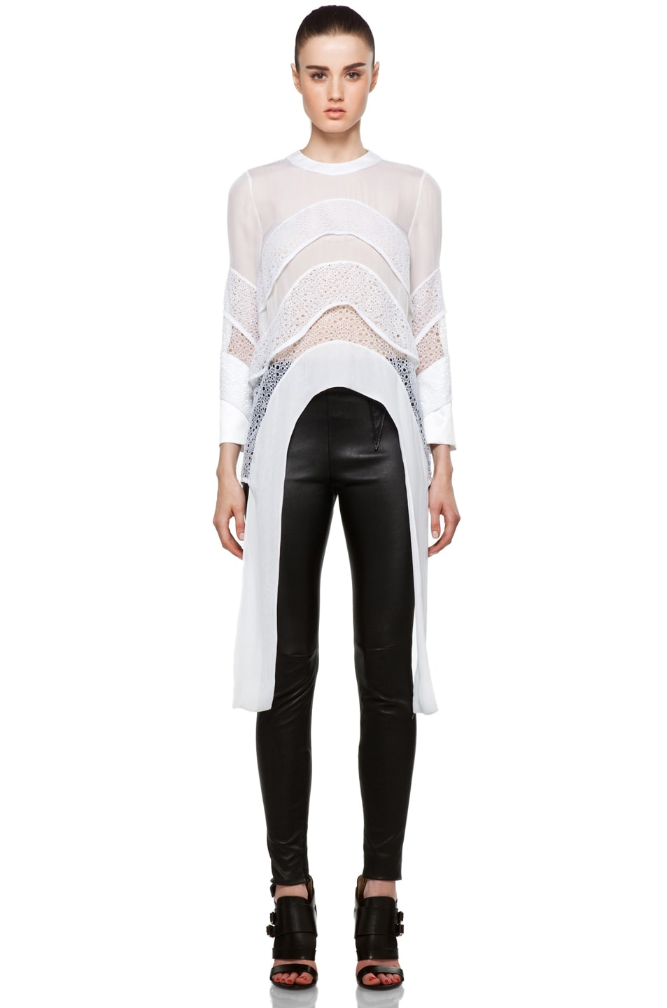 Image 1 of GIVENCHY Tiered Chiffon Lace Top with Tails in White