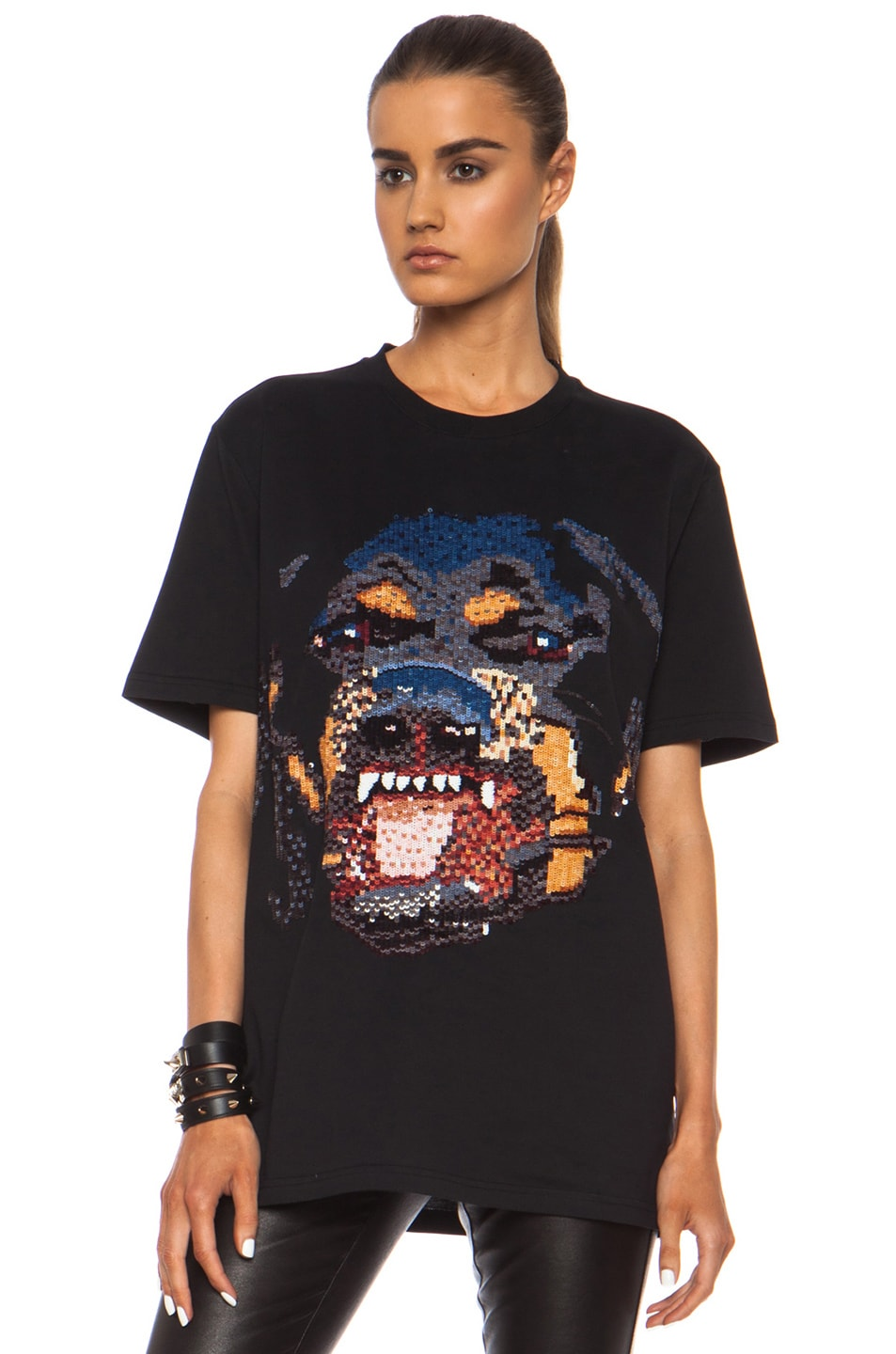 Image 1 of GIVENCHY Sequin Rottweiler Cotton Tee in Black
