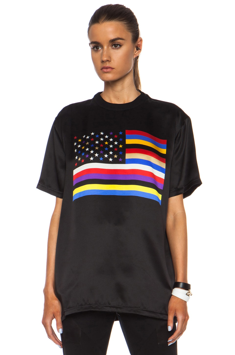 Image 1 of GIVENCHY American Flag Silk Tee in Black