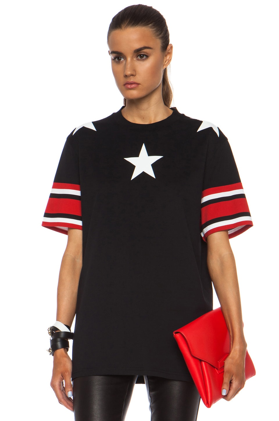 Image 1 of GIVENCHY Stars and Stripes Cotton Tee in Black
