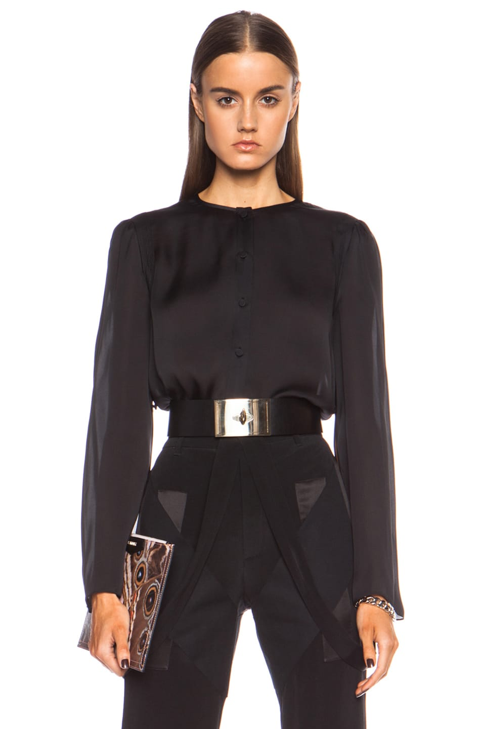 Image 1 of GIVENCHY Split Sleeve Silk Top in Black