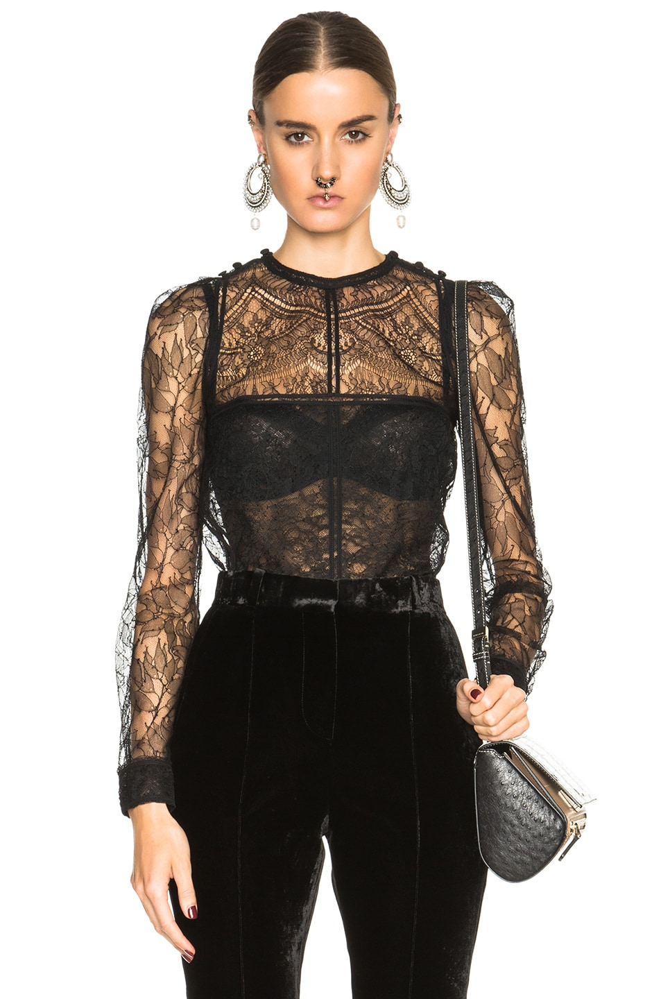 Image 1 of Givenchy Lace Patchwork Blouse in Black