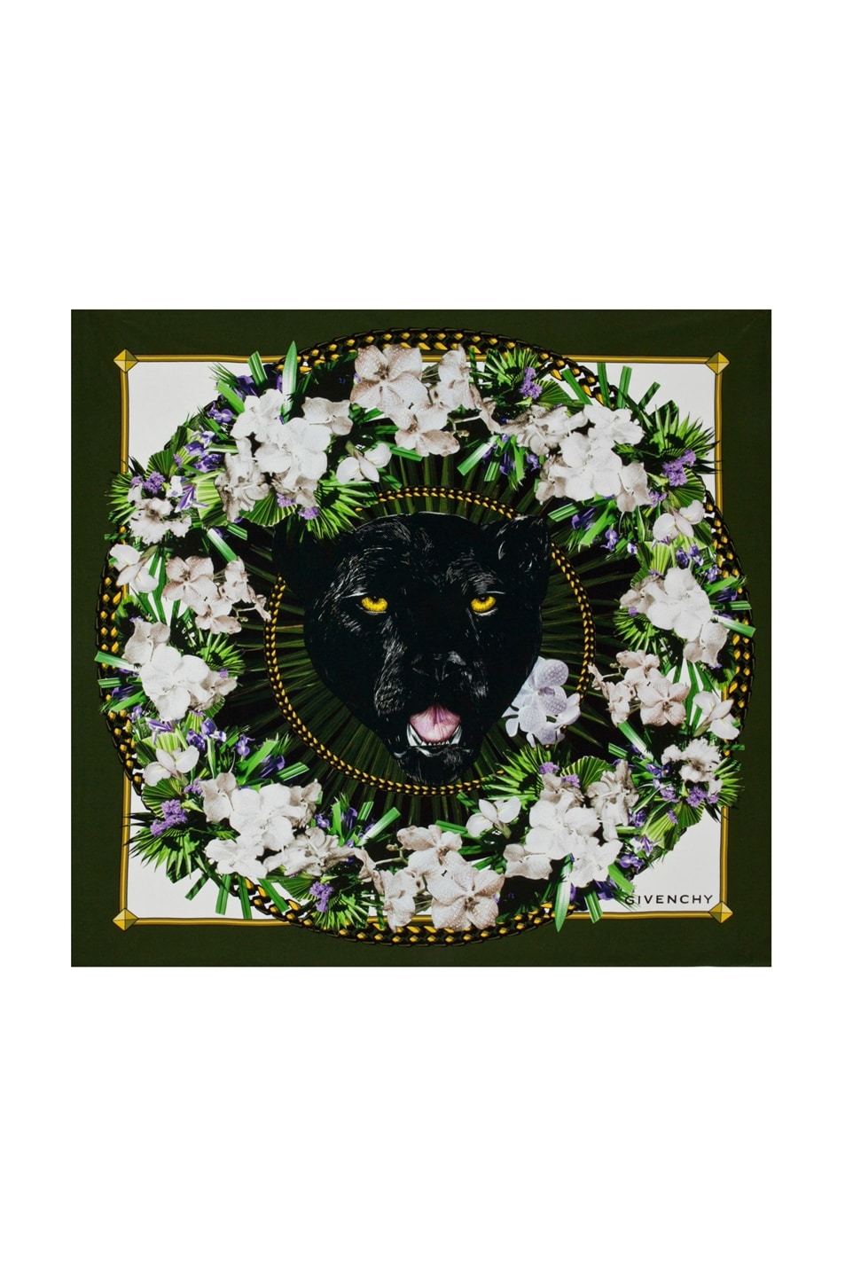 Image 1 of GIVENCHY Panther Garland Silk Scarf in Military Green