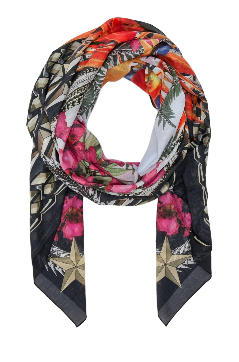 Image 2 of Givenchy Birds of Paradise Flowers Scarf in Light Blue