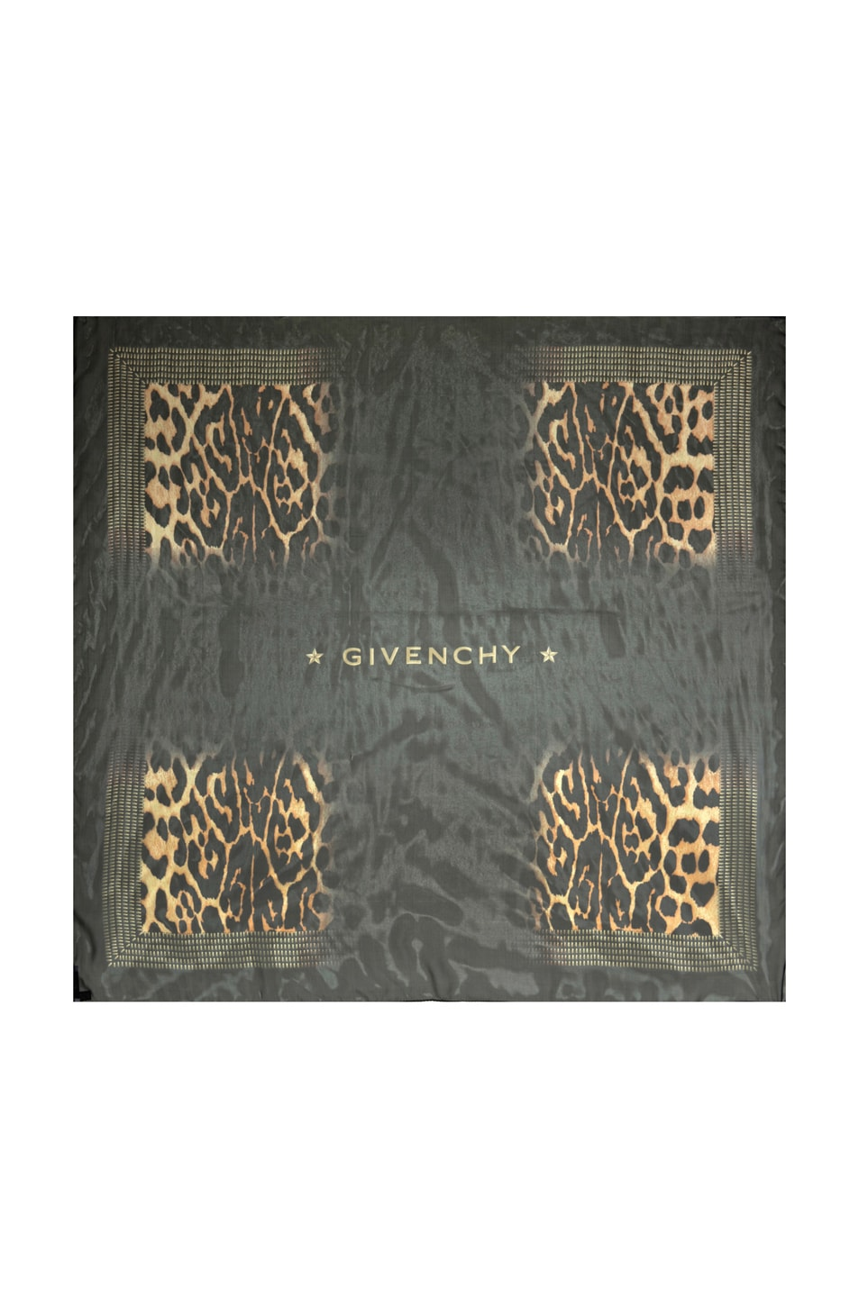 Image 1 of GIVENCHY Shaded Leopard Chiffon Scarf in Black