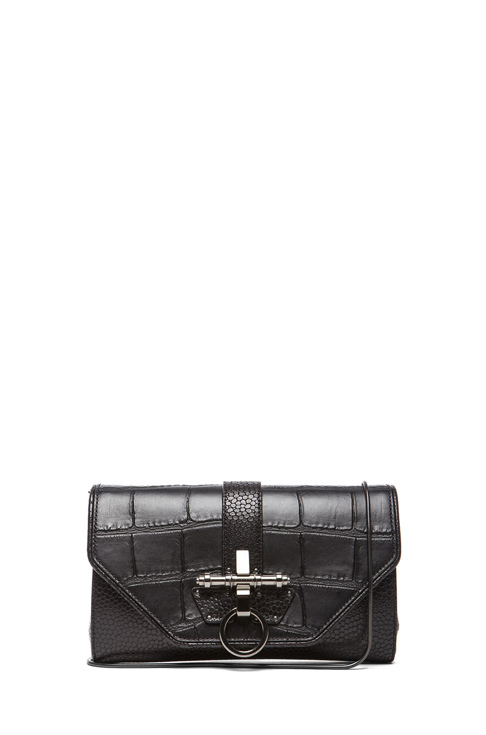 Image 1 of GIVENCHY Evening Obsedia Stamped Croc Clutch with Chain in Black