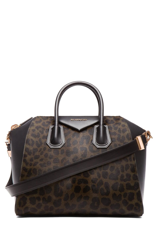 Image 1 of Givenchy Medium Animal Print Antigona in Light Khaki