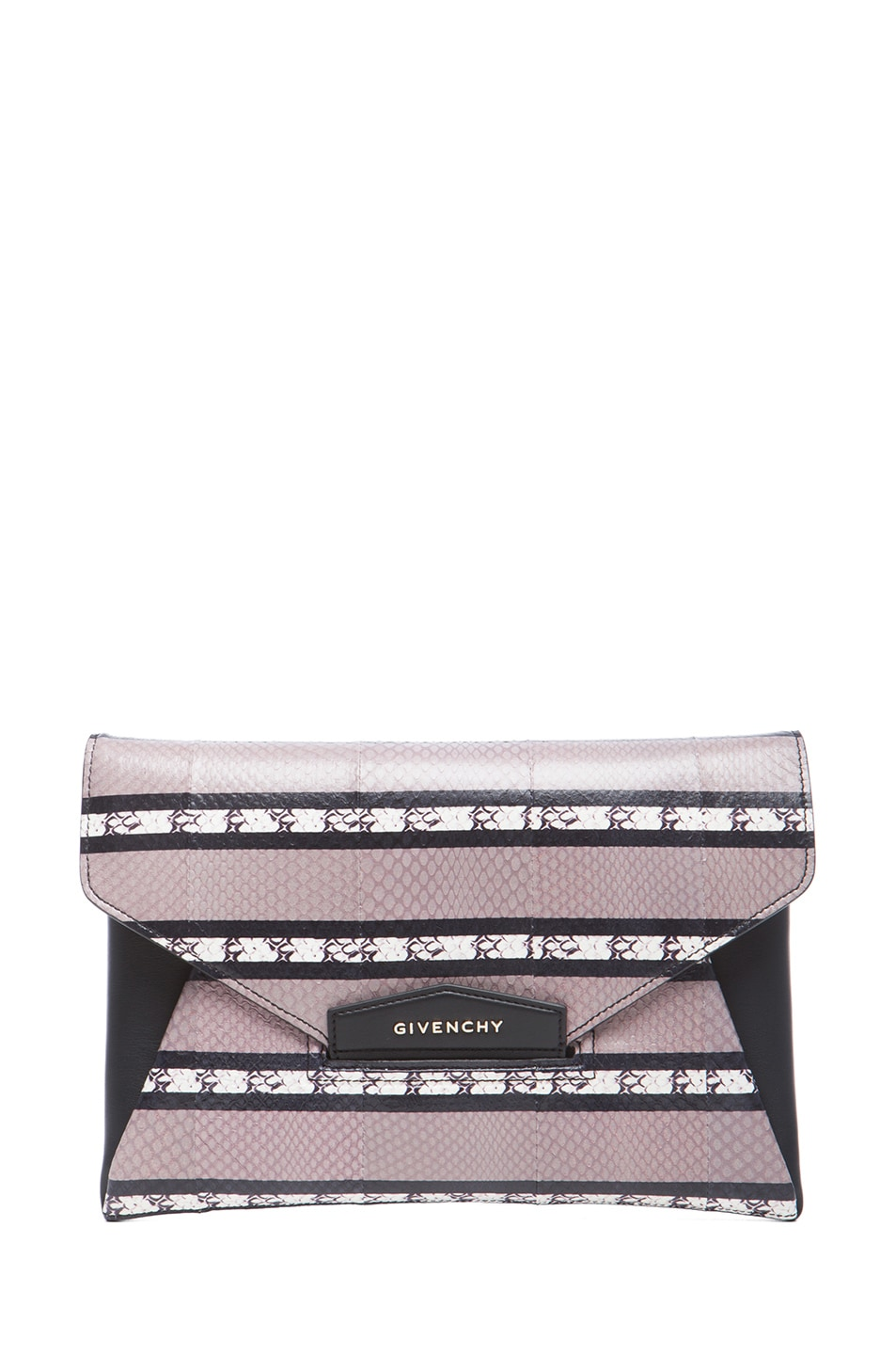 Image 1 of GIVENCHY Medium Ayers Antigona Envelope Clutch in Beige Stripe