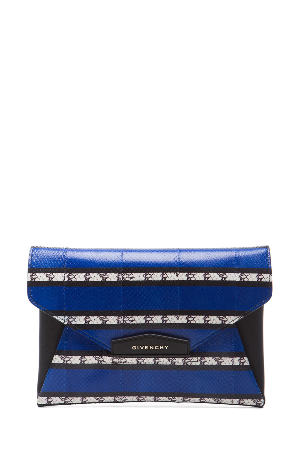 Image 1 of GIVENCHY Medium Ayers Antigona Envelope Clutch in Blue Stripe