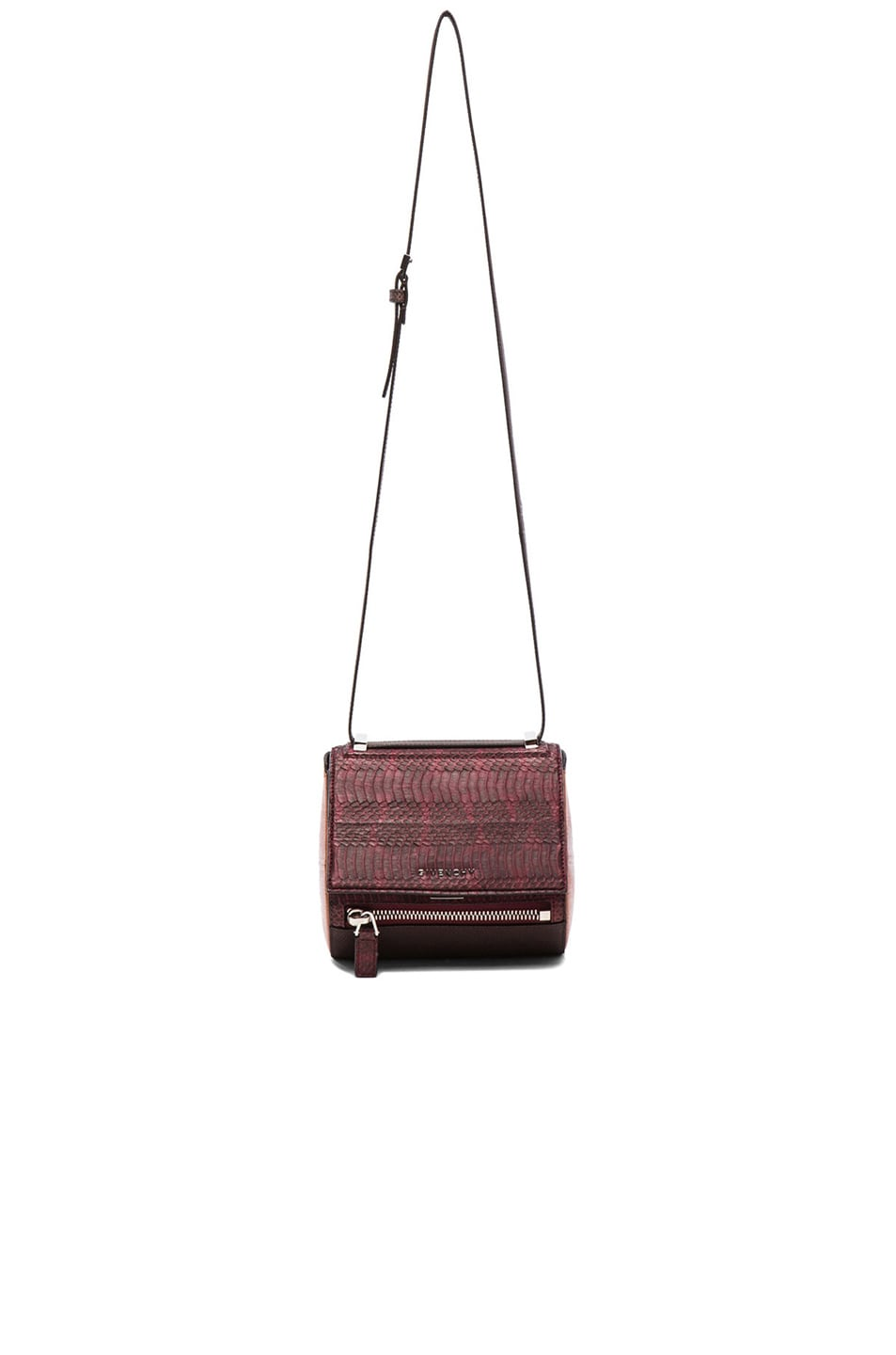 Image 1 of Givenchy Mini Pandora Box in Oxblood, Beige & Brown