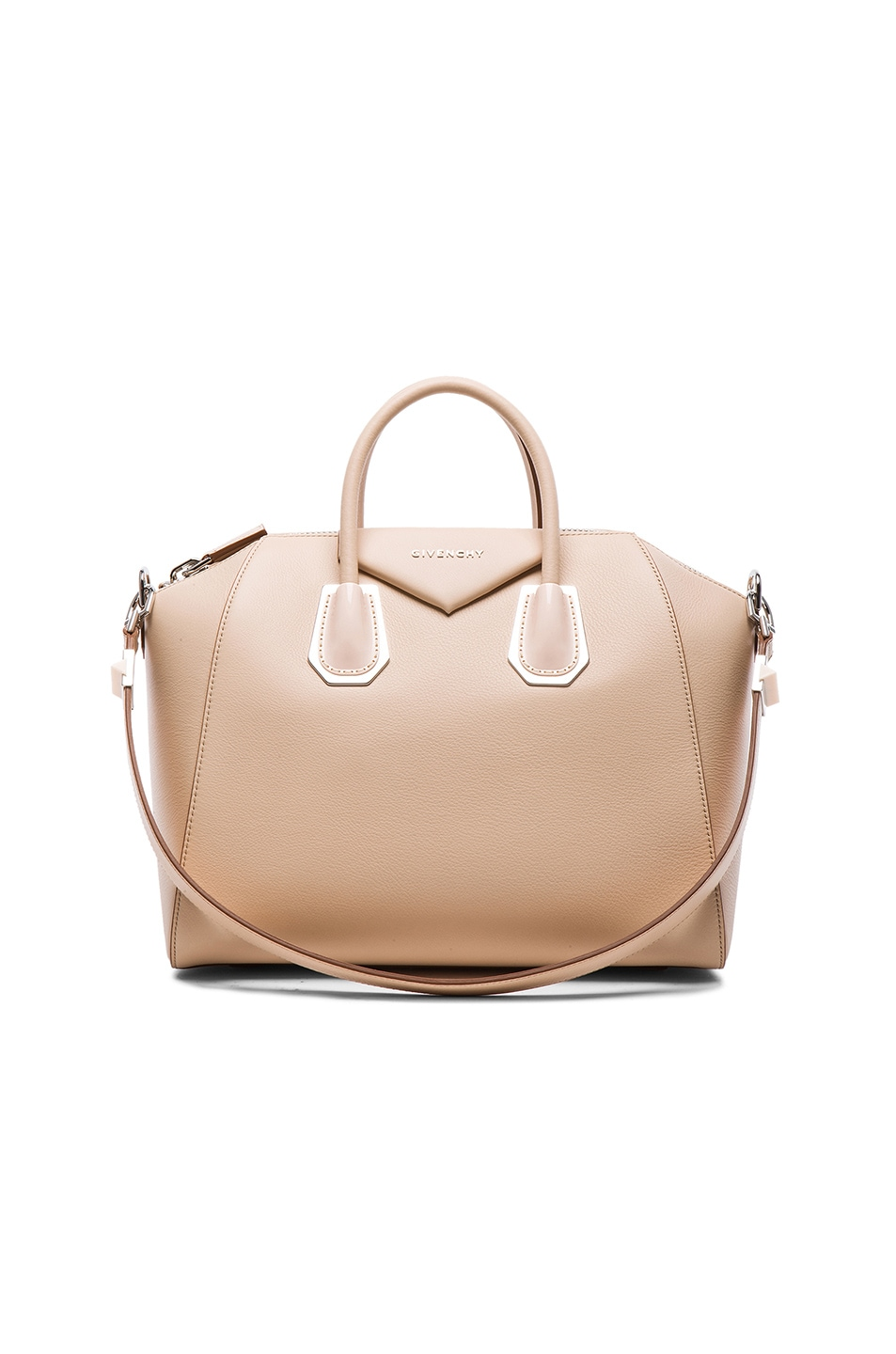 Image 1 of GIVENCHY Medium Waxy Leather & Plexi Antigona in Light Beige
