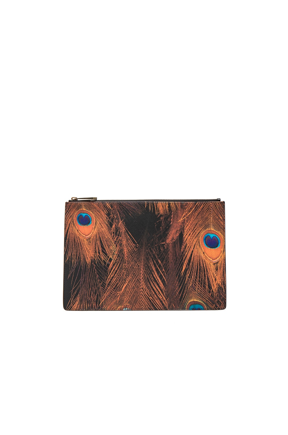 Image 1 of Givenchy Medium Peacock Feather Print Pouch in Multi
