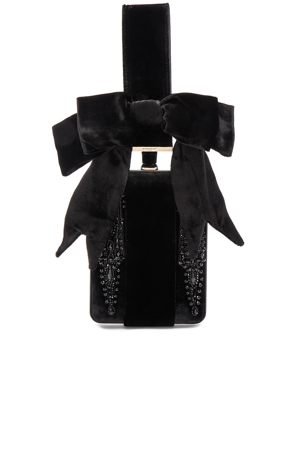 Image 1 of Givenchy Embroidered Leather & Velvet Minaudiere in Black