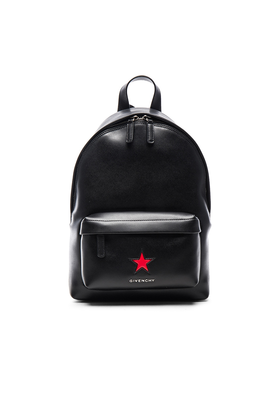 Image 1 of Givenchy Mini Leather Backpack with Star in Black & Red
