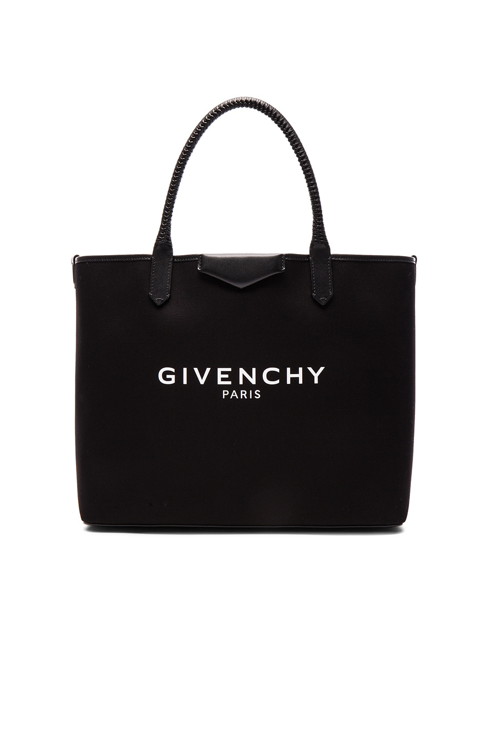 Image 1 of Givenchy Large Logo Print Antigona Shopping Bag in Black