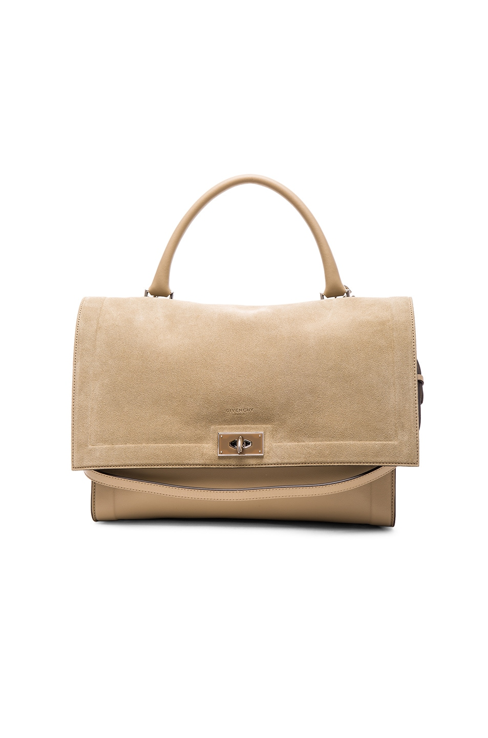 Image 1 of GIVENCHY Medium Suede & Leather Shark Bag in Beige